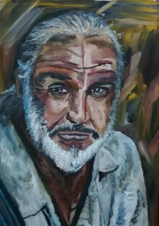 Oilpaint on Cardboard ( 50x70cm ): Sean Connery