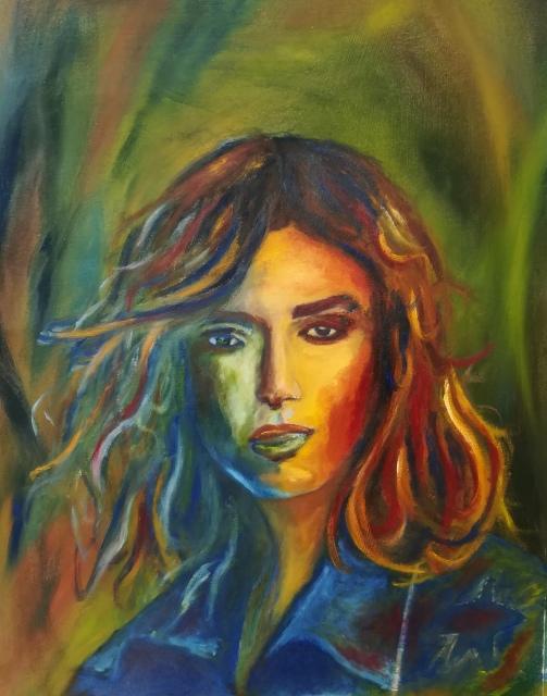 Oilpaint on cardboard: Portrait of Keira Knightley