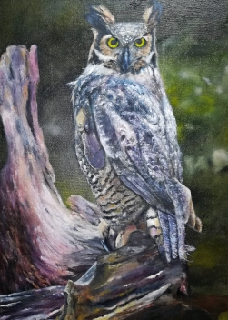 Oilpainting of an owl on canvas